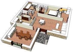 3D de distribución interior de casa rústica de planta baja de 3 dormitorios con tejadillo de entrada