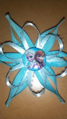 Anna and Elsa Snow Flake Hair Bow
