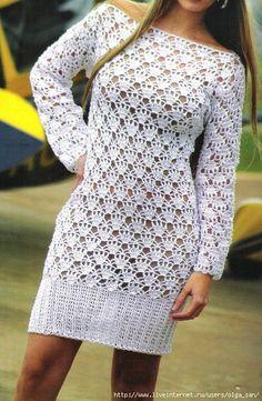Crochetemoda: Crochet - Vestido Branco Manga Longa