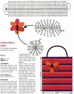 Crochet Bag, Belt and Flower. Diagrams only . ☀CQ #crochet #crafts #DIY.