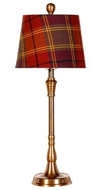 Table lamp with a brass base and red tartan lampshade. The lampshade is in a warm red tartan fabric that adds warmth to a room. Scottish Decor, Scottish Plaid, Scottish Tartans, Equestrian Decor, Equestrian Style, Tartan Fabric, Tartan Plaid, Tartan Decor, Decoration Entree