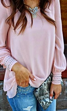Adorable Pale Pink Blouse with Torn Stylish Jeans, Charming Accessories, Leather Clutch Bag and Beautiful Crystal Necklace #adorable