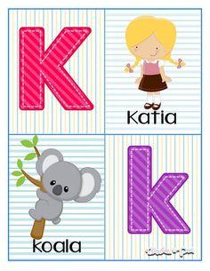 Tarjetas para trabajar el abecedario - Imagenes Educativas Alphabet Cards, Pre Kindergarten, Math For Kids, Kids And Parenting, Homeschool, Classroom, Activities, Education, Creative