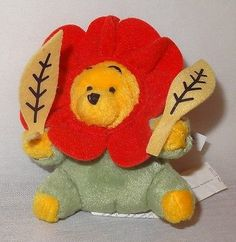 "Flower Winnie the Pooh Key Chain Disney 4"" Plush Stuffed Animal Keyring Bear"