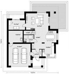 Projekt domu Karat 5 156,82 m2 - koszt budowy - EXTRADOM Modern Family House, Mediterranean Style Homes, Planer, Bungalow, Architecture Design, New Homes, Floor Plans, Construction, How To Plan