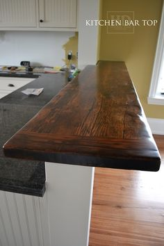 Check out our extensive library of beautiful custom reclaimed wood bars & kitchen island tops online or make an appointment with our mobile showroom! Wood Kitchen, Replacing Kitchen Countertops, Wood Kitchen Island, Kitchen Design, Kitchen Decor, Outdoor Kitchen Countertops, Kitchen Bar Table, Bar Countertops, Wood Bar Top
