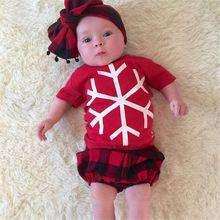 Toddler Print Plaid 2PCS Xmas Clothing Baby Boys Girls Christmas Snowflake Outfit Shirt+Pants Set(China (Mainland))