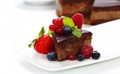Ciasto, Czekoladowe, Maliny, Jagody, Truskawka