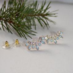 $12.00 Opal crystal glass jewel earrings, crescent earrings, post back earrings, by JanysJewelryBox on Etsy