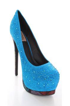 Blue Faux Suede Upper Rhinestone Detail Printed Platform Heels