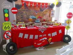 Cool dessert table at a Disney Cars birthday party! See more party ideas at CatchMyParty.com!