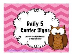 Daily 5 Center Signs - (Pink) - TpT