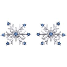 14k White Gold 1/8ct TDW Blue Diamond Snowflake Earrings ($141) ❤ liked on Polyvore featuring jewelry, earrings, white, 14k earrings, blue diamond earrings, white diamond earrings, long earrings and blue earrings