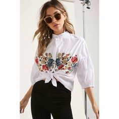 2451e687bba39d Forever21 Floral Embroidered Top ($35) ❤ liked on Polyvore featuring tops,  white,. Pinstriping ...
