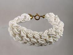Retro Bracelet Woven Seed Beads | Michelle's Vintage Jewelry