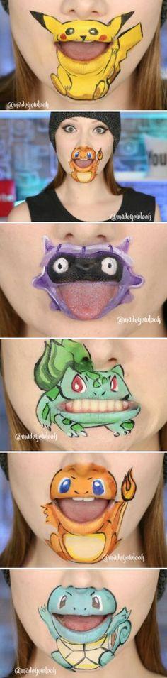 Pokemon Go Lip Art!! Pokemon Go, Pokemon Faces, Pokemon Craft, Pikachu, Pokemon Party, Pokemon Birthday, Pokemon Facepaint, Pokemon Makeup, Pokemon Costumes