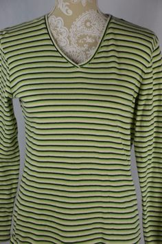 Falls Creek Womens Small Green White Striped Long Sleeve V-Neck Fitted Shirt Top #FallsCreek #KnitTop #Casual