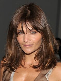 Medium Length Hairstyles With Bangs | Medium Wavy Cut with Bangs - Helena Christensen Shoulder Length ...