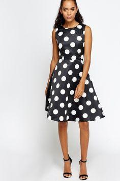 Large Polka Dot Skater Dress - BLACK/RED - £5 - on Everything5pounds.com