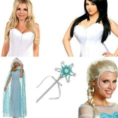 Corset DIY Costumes - Elsa  These beautiful Daisy Corsets are perfect for DIY Halloween  Combine a corset tutu or hot pants and sexy fishnets with a snow queen cape tiara wand and wig for a stunning Elsa Frozen look that is all your own.  Finish with sparkling Paradise AQ theatrical makeup and make a heavenly appearance at any Mardi Gras Halloween party or cosplay event.  Contact us at 585-482-8780 for more information or check out select costumes and accessories on our website…