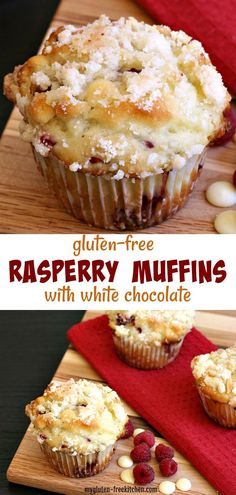 White Chocolate Raspberry Muffins with Almond Streusel Toppi.- Gluten-free White Chocolate Raspberry Muffins with Almond Streusel Topping Brownie Sans Gluten, Muffins Sans Gluten, Cookies Sans Gluten, Dessert Sans Gluten, Bon Dessert, Gluten Free Sweets, Gluten Free Baking, Dairy Free Recipes, Raspberry Recipes Gluten Free