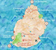 Carte des choses à voir à l'île Maurice.