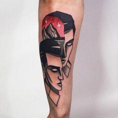 Simple Blackwork Tattoo Ideas Of Face Tattoo On Sleeve Tattoo Ideas