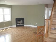 "Walls are Benjamin Moore ""Dry Sage"" - this is a gorgeous color! Perfect for our stairwell & living room!"