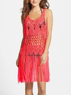 Perfect for the beach! Hot coral macramé cover-up dress.