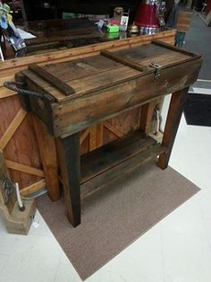 ammo crate table, minus the top but with glass Repurposed Furniture, Pallet Furniture, Furniture Projects, Rustic Furniture, Home Projects, Urban Furniture, Luxury Furniture, Office Furniture, Wood Crates
