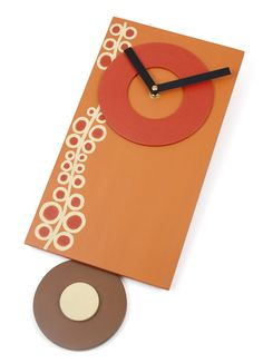 Orange Pendulum Clock - Contemporary Circle Design - Oodles - Pumpkin Orange, Barn Red Art Clock. $70.00, via Etsy.
