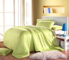 Купить Эвкалиптовый премиум-сатин Фисташка (тенсель) - интерьерные ткани, спальня, постельное белье