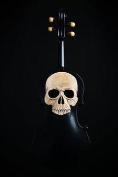 Skull Violin carved skull violin memento mori by ArtistInFla