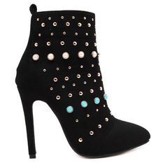 Rivet Beaded Pointed Toe Stiletto Heel Boots ($39) ❤ liked on Polyvore featuring shoes, boots, stiletto heel boots, pointed toe shoes, stiletto heel shoes, pointy toe shoes and pointed-toe boots