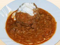 Töltöttkáposzta gerslivel Drupal, Chana Masala, Chili, Curry, Soup, Fish, Meat, Ethnic Recipes, Curries