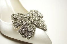 SERENA Shoe Clips Oversize rhinestone bow. MUST HAVE! Clip onto ballerinas, open-toes, pointed toes. Clip one onto a headband for a night ou...