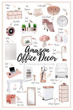 Work Desk Decor, Gold Office Decor, Study Room Decor, Bedroom Decor, Feminine Office Decor, Gold Room Decor, Desk Ideas, Office Ideas For Work Business Decor, Room Ideas