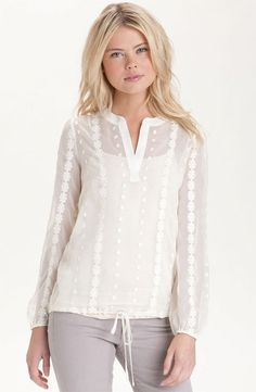 Bellatrix Sheer Embroidered Drawstring Waist Blouse