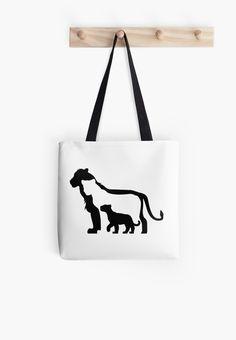 Black and White Lions Tote Bag by thekohakudragon