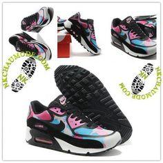 the best attitude 7eaa1 d7266 Tendance   Nike Chaussure Sport Air Max 90 2014 Femme Noir Rose Bleu 001