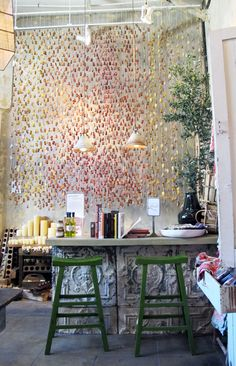 Hollywood Rolling Greens: 3000 teabags dipped in paint. The piece is called Tea Sunburst and is housed in the homewares room of the store, a section that you could very easily miss but that you have to check out!