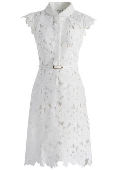 Retro Dresses Full Flower Cut Out Midi Dress - Retro, Indie and Unique Fashion White Shift Dresses, White Midi Dress, Lace Dress, Belted Dress, Calf Length Dress, Knee Length Dresses, Short Dresses, Maxi Dresses, Casual Dresses