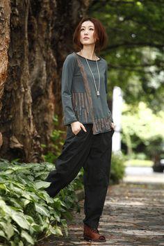 KL081T Perfect World / Ropa de Mujer Mujeres camiseta blusa de las mujeres más el tamaño de la blusa de manga larga de maternidad blusa Patch Work asimétrico Top Casual