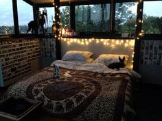 tapestry bedding with hanging lights