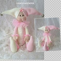 Jester, kooppatroon van Crea me and you… Knitted Dolls, Crochet Dolls, Crochet Baby, Baby Knitting, Easy Crochet Animals, Knitted Animals, Doll Clothes Patterns, Doll Patterns, Handmade Toys