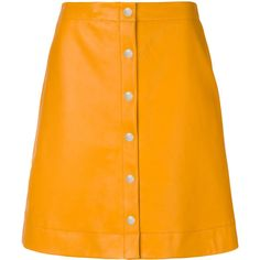 Ps By Paul Smith button-down A-line skirt ($655) ❤ liked on Polyvore featuring skirts, orange a line skirt, orange skirt, above the knee skirts, button down skirt and knee length a line skirt