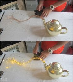 Diy spilling solar lights teapot lights step-by-step tutorial for diy spilling solar lights teapot solar lights upcycled teapot easy. Dget friendly diy backyard ornaments and landscape lights diy garden lights Patio Lighting, Landscape Lighting, Lighting Ideas, Lighting Design, Tree Lighting, Garden Crafts, Garden Projects, Garden Ideas, Patio Ideas