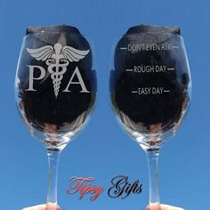 Physician Assistant  PA Etched 20oz Wine Glass  by TipsyGifts