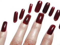 press on fake nail tip red burgundy marsala nail art false halloween christmas…