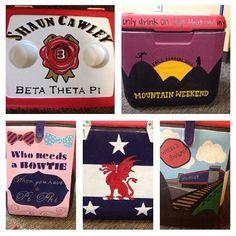 Pi Beta Phi and Beta Theta Pi cooler craft! Pi Beta Phi, Kappa Alpha Theta, Formal Cooler Ideas, Frat Coolers, Sorority Life, Flasks, Brittany, Fun Crafts, Bretagne